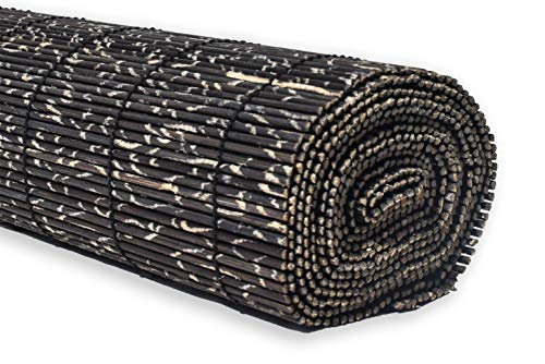 (Bamboo Table Runner: 100% Natural Hand Woven Decorative Cover for Dinner and Coffee Table, Eco- Friendly Sustainable Materials, Elegant Style, Wooden Rustic Design (Freckled Black, 14x72))
