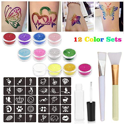 Glitter Tattoo Kits Powder Temporary Tattoo Body Painting with 12 Large Glitter Colors,32 Uniquely Themed Temporary Tattoo Stencils,1 Glue Applicator Bottles & 2 Glitter Brushes for Children, -