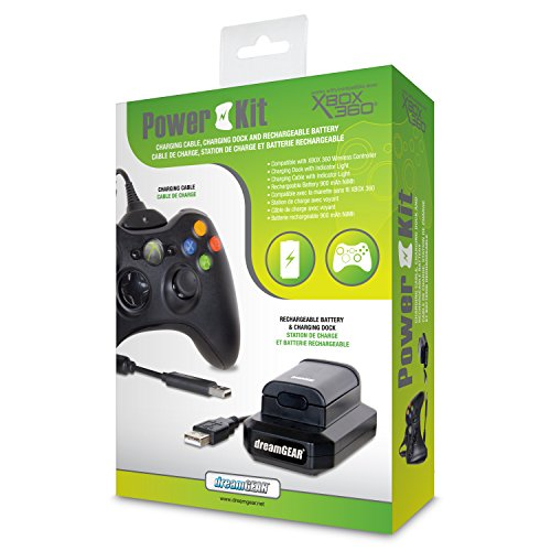 dreamGEAR – Power Kit (charging cable + rechargeable battery + charging dock) - play while you charge! – for Xbox 360 by dreamGEAR (Image #1)