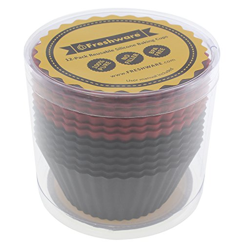 Freshware CB-320RB 12-Pack Silicone Jumbo Round Reusable Cupcake and Muffin Baking Cup, Black and Red Colors by Freshware (Image #3)