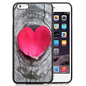 New Beautiful Custom Designed Cover Case For iPhone 6 Plus 5.5 Inch With Heart Shaped Petal On Wood Phone Case