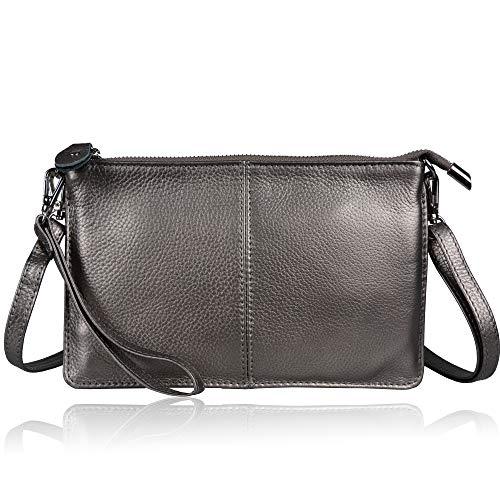 Befen Women Leather Wristlet Wallet Shoulder Crossbody Bag Clutch Purses with 6 Card Slots/Wrist Strap/Crossbody Strap - Antique Silver