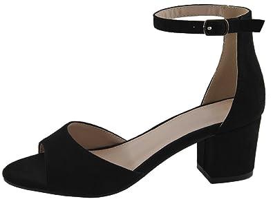 Women's Open Toe Buckle Ankle Strap Chunky Wrapped Block Heel Sandal