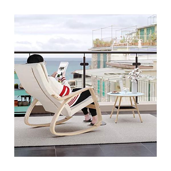 HOMECHO Fauteuil à Bascule en Bois Rocking Chair pour Salon, Bureau, Terrasse Blanc 86 x 67 x 99 cm