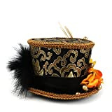 Micro Mini Top Hat, Gold and Black, Pageant Hat Mad Hatter Hat, Tea Party Mini Hat (Color : Black, Size : 25-30CM)
