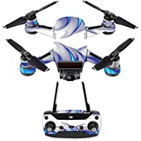 Skin for DJI Spark Mini Drone Combo - Blue Fire| MightySkins Protective, Durable, and Unique Vinyl Decal wrap cover | Easy To Apply, Remove, and Change Styles | Made in the USA