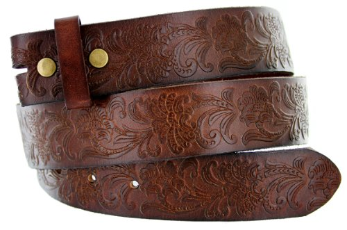 [Western Floral Engraved Tooling Solid One-Piece Leather Dark Brown Belt Strap (38, Dark Brown)] (Design Belt Buckle)