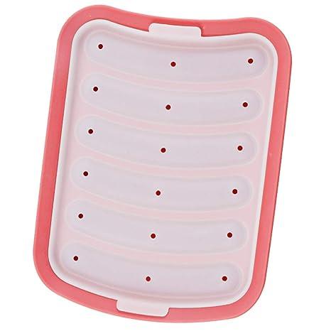Las cavidades 6 Salchicha Hot Dogs molde del silicón de bricolaje artesanal de la hamburguesa molde