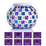 MerryNine Solar Powered Mosaic Glass Ball LED Glass Jar, Color Changing, Waterproof Solar Table Lamps for Home, Yard, Patio, Party Decorations, 5.12 4.13 In (Mosaic-red-blue)