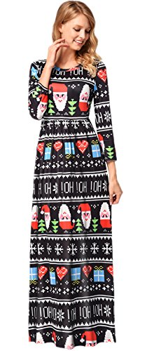 Christmas Women Santa Claus Printed Xmas Longsleeve Party Gifts Cosplay Maxi Flared Dress Hoho Xmas S