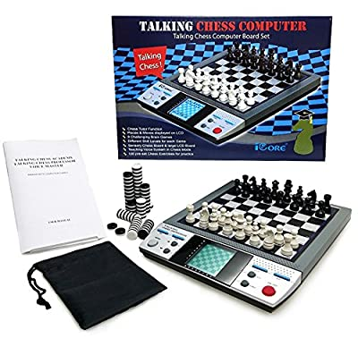ICORE Electronic Talking Chess Board Games 8 in 1 Talking Computer Chess set for kids adults
