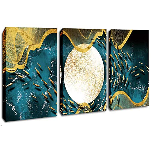 DVQ ART Abstract Moon Art Modern Fish Picture Stretched and Framed Giclee Canvas Print Artwork for Living Room Bedroom Decoration