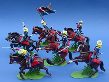 BRITAINS Super Deetail 7th Cavalry Custer Soldiers 1:3 2 Complete Set 6 Figure