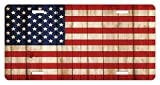 zaeshe3536658 USA License Plate, Fourth of July Independence Day Damaged Wooden Fence Looking Freedom Symbol, High Gloss Aluminum Novelty Plate, 6 X 12 Inches, Cream Red Navy Blue