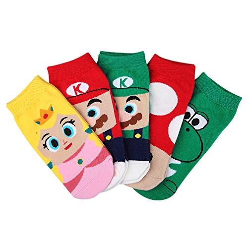 (5 Pairs Mario Bros Crew Socks for)
