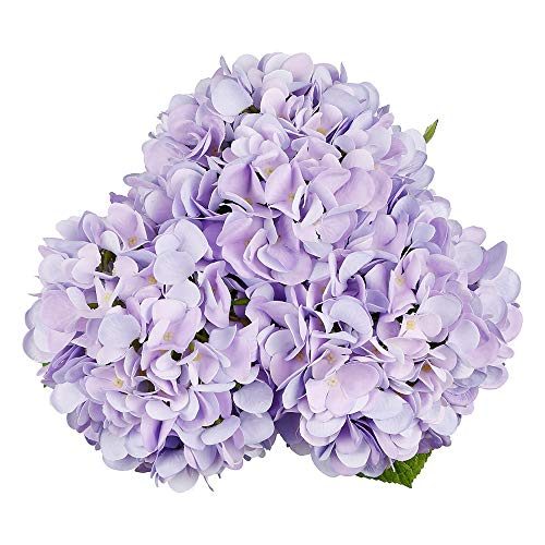 Purple Hydrangea Bouquet - Artificial Hydrangea Silk Flowers for Wedding Bouquet, Flower Arrangements - 3 Stems Per Bundle (Purple)