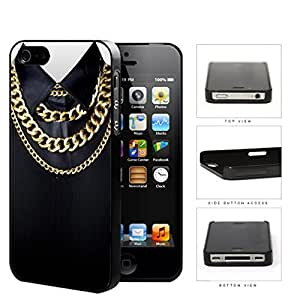 Black Shirt And Cuban Link Gold Chains Hard Plastic Snap On Cell Phone Case Apple iPhone 4 4s
