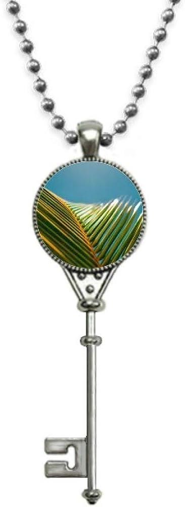 YaoX Leaf Plant Nature Blue Sky Photography Pendant Vintage Necklace Silver Key Jewelry