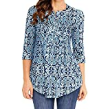 Toimoth Women O Neck Three Quarter Sleeved Printed Loose Tops T-Shirt Blouse (BlueA,M)