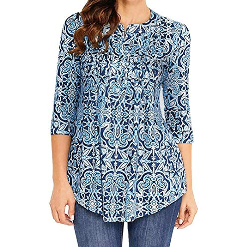 Toimoth Women O Neck Three Quarter Sleeved Printed Loose Tops T-Shirt Blouse (BlueA,S)