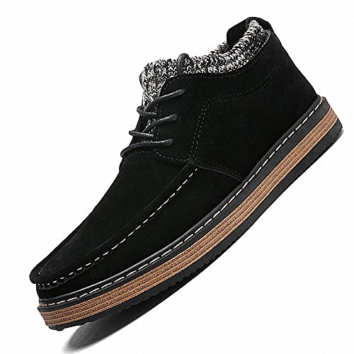 Ben Sports Mens Classic Suede Lace Up Flat Sneaker Loafer Slip on Shoes Black RsLG8FaME7