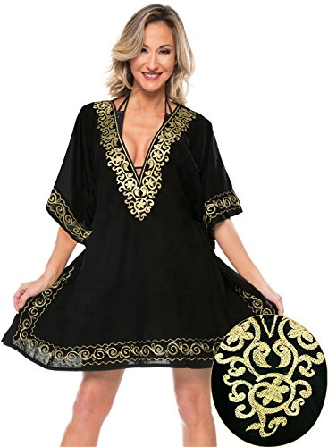 LA LEELA Rayon Solid Sundress Girl Cover Up OSFM 10-16 [M-1X] Black_2802 by LA LEELA
