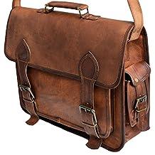 "16"" Inch Men's Genuine Leather Messenger College Macbook Air Pro Laptop Ipad Tablet Briefcase Satchel Bag"