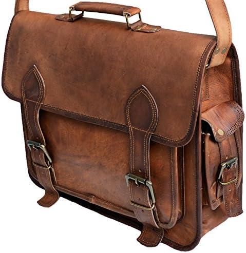 16 leather messenger bag laptop case office briefcase gift for men computer distressed shoulder bag
