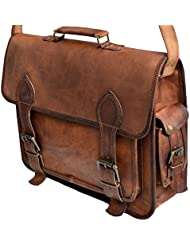 16 Inch Mens Genuine Leather Messenger College Macbook Air Pro Laptop Ipad Tablet Briefcase Satchel Bag