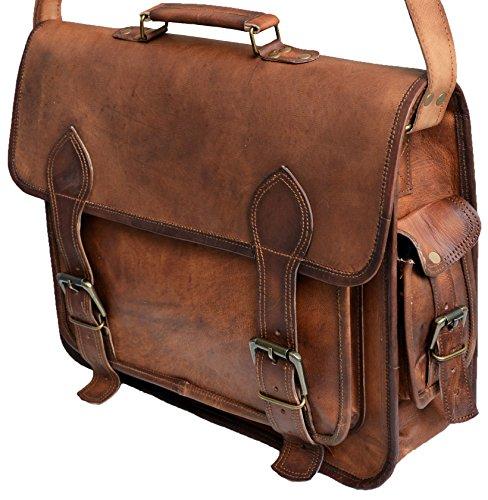 16 Inch Mens Genuine Leather Messenger College Laptop Tablet Briefcase Satchel Bag