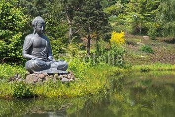 Alu Dibond Bild 140 X 90 Cm Buddha Figur Im Garten Am Teich Als