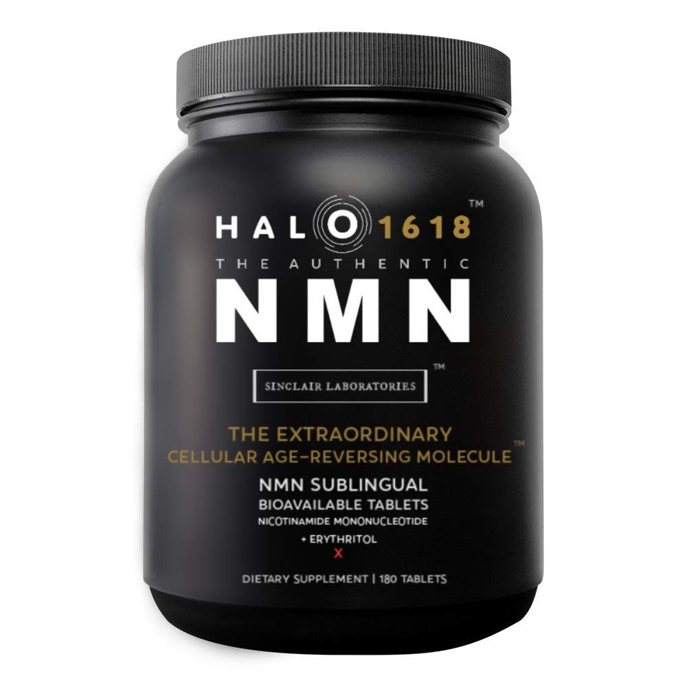 NMN Supplement B-Nicotinamide Mononucleotide Sublingual 180 Tablets (42 mg Each), 7500 mg Total Halo1618 NAD Booster Anti-Aging Capsules - Energy Boosting Formula
