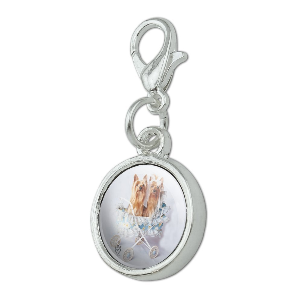 GRAPHICS /& MORE Yorkie Yorkshire Terriers Dog Baby Stroller Antiqued Bracelet Pendant Zipper Pull Charm with Lobster Clasp