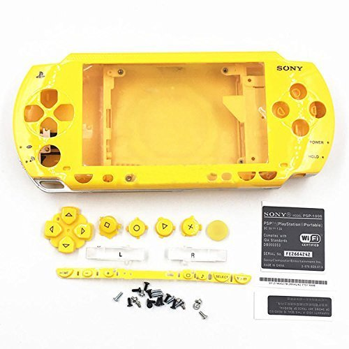 Housing Case Shell With Buttons Screwdrivers For Sony PSP 1000 1001 - Yellow (Psp 1000 Screwdriver)