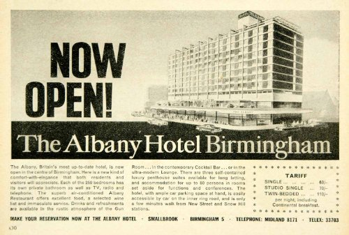 1963 Ad Albany Hotel Birmingham Midland England UK Lodging Travel Tourism Motel - Original Print Ad from PeriodPaper LLC-Collectible Original Print Archive