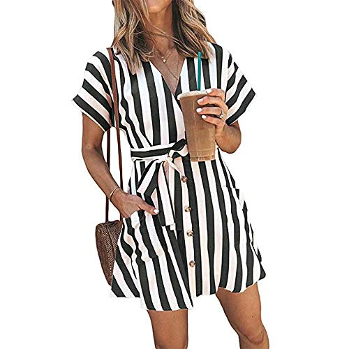 - OEUVRE Women V Neck Short Sleeve Wrap Tie Waist Button Front Shirt Dress Striped Belted Dress with Pocket Navy XL
