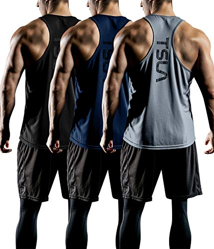 TSLA Men's (Pack of 1 or 3) Workout Muscle Tank Sleeveless Gym Training Active Workout Cool Dry Top Shirt, Active Y-Back 3pack(mtn33) - Black & Grey & Navy, X-Large (Gym Performance Mesh Back)