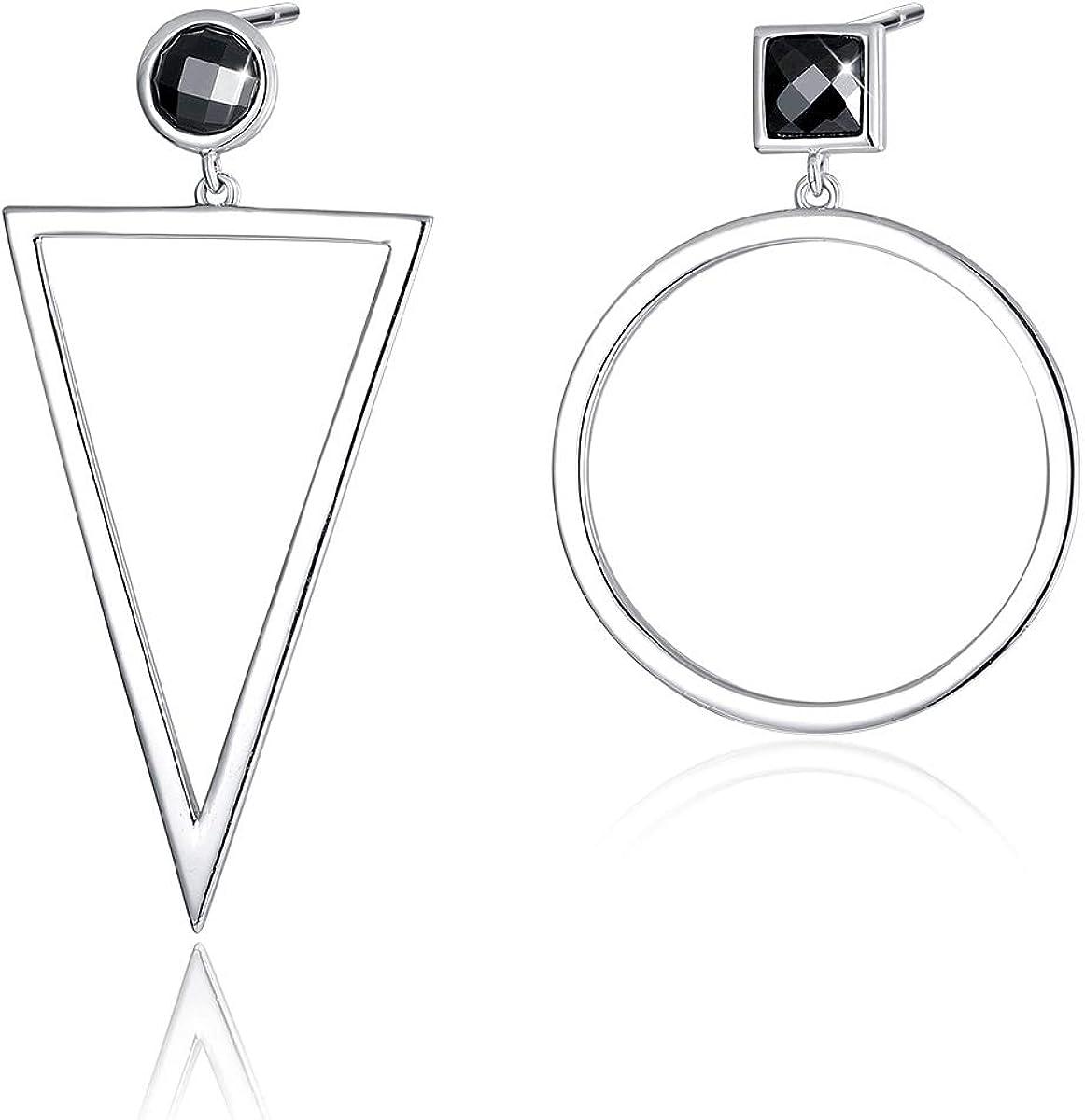 SIMPLOVE Boucles doreilles pendantes g/éom/étriques Halo Boucles doreilles pendantes en forme de goutte longue avec zircon cubique noir Argent sterling 925