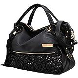 Qianle Fashion Sexy Leopard Print/ Black Bag Paillette Shoulder Bags Handbags for Women