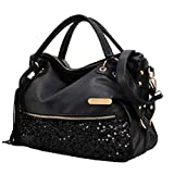 Jiyaru Women PU Leather Sequins Handbag Shoulder Bags Toto Hobo Bags Black
