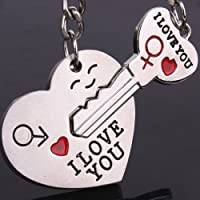 Valentines Day Lover Gift Heart Key Couple Keychain Keyring Keyfob 1 Pair