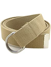 "Thin Web Belt Double D-Ring Buckle 1.25"" Wide with Metal Tip Solid Color"
