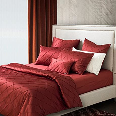 American Continental Bedding Satin Solid Color Four Piece 1Quilt Cover 1 Bed Sheets 2pillowslip A Queen2