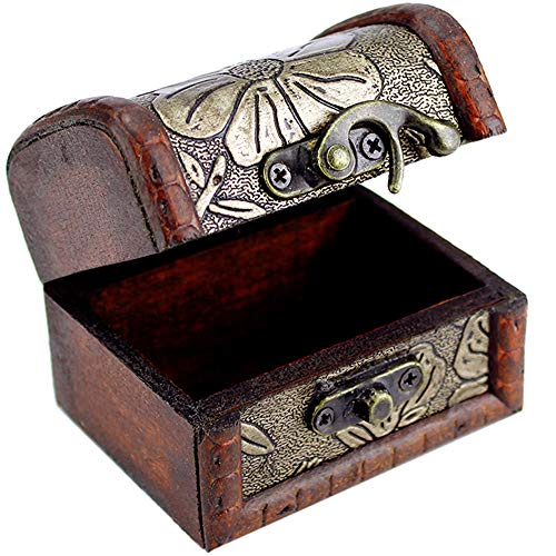 Wooden Jewelry Box for Girls Women,Small Jewelry Holder with Bronze Tone Embossed Flower Old Stye Vintage,Drawer Organizer Wood Dresser Case,Best Bedroom Storage Box for Bracelet,Earring,Ring,Hairpin ()
