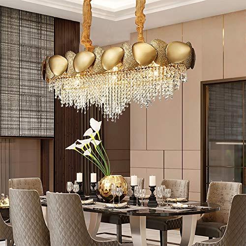 H.Y.BBYH Lampara Colgante Sala de la lampara Hotel Restaurante Mesa de Comedor Dormitorio Salon Acero Inoxidable arana de Cristal 90x32x32cm Candelabro