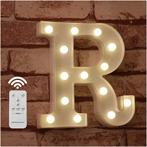 Pooqla LED Marquee Letter Lights Alphabet Light Up Sign with Wireless Timer Remote Control Dimmable for Wedding Home Party Bar Decoration - RC - R