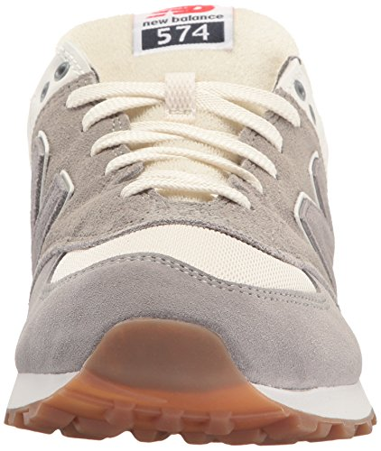 New Balance Mens 574 Resort Sport Lifestyle Fashion Sneaker Acciaio / Visone Argento
