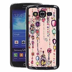 A-type Arte & diseño plástico duro Fundas Cover Cubre Hard Case Cover para Samsung Galaxy Grand 2 (Ruby Sparkle Peach Pink Gold)