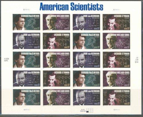 American Scientists (Barbara McClintock, Josiah Willard Gibbs, John von Neumann, Richard Feynman), Full Sheet of 20 x 37-Cent Postage Stamps, USA 2005, Scott 3906-09
