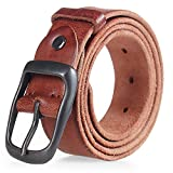 Ayli Men's Jean Belt, Distressed Italian Top Grain Leather Belt, Free Gift Box, Style 2 Distressed Brown, Fits Pant Sizes 33'' to 35'', bt3g002br105